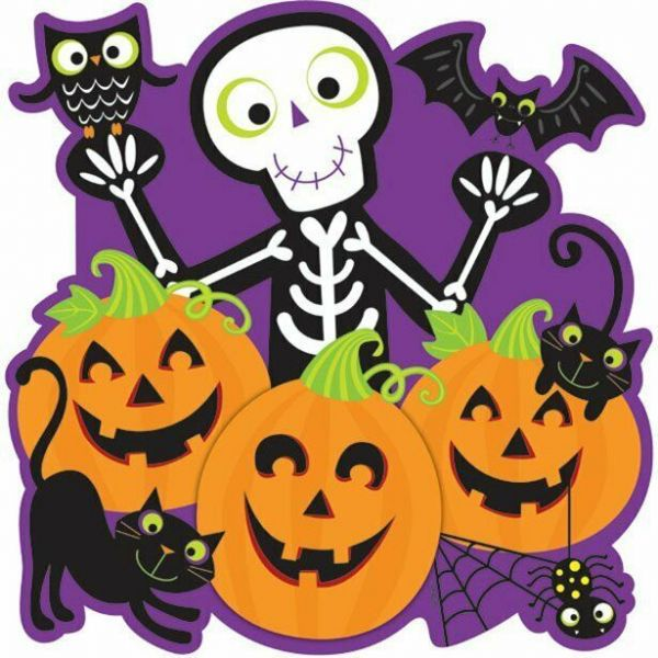 Halloween card cut out pumpkin, cat and skeleton 38cm